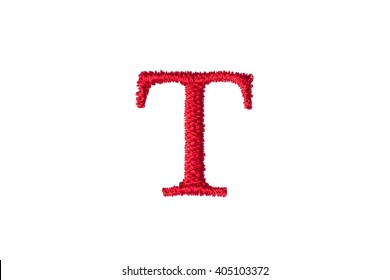Embroidery Designs alphabet T isolate on white background