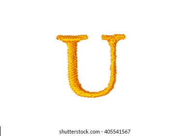 Embroidery Designs alphabet U isolate on white background