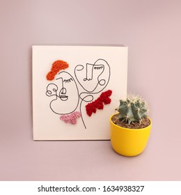 Embroidery fabric punch frame, fabric poster with one line cute girl drawings with a cactus in yellow pot, minimal handicraft image