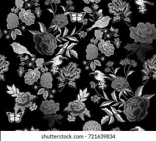 Embroidery Flowers Birds Butterflies Seamless Pattern Monochrome BW
