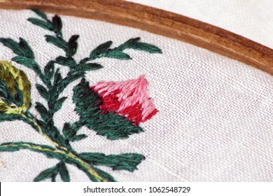 Embroidery Flowers. Sewing accessories. Canvas, hoop, thread mouline Needlework Hand embroidery