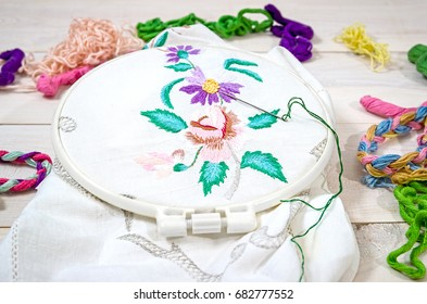 Embroidery Flowers. Sewing accessories. Canvas, hoop, thread mouline. Needlework. Hand embroidery