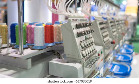 Embroidery machine with colorful thread