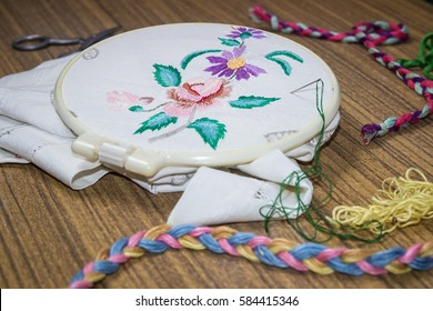 Embroidery. Sewing accessories. Canvas, hoop, thread mouline. Needlework. Hand embroidery. Flowers