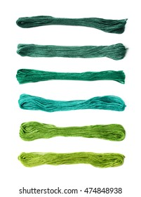 Embroidery thread yarn isolated over the white background, set of multiple different color variations