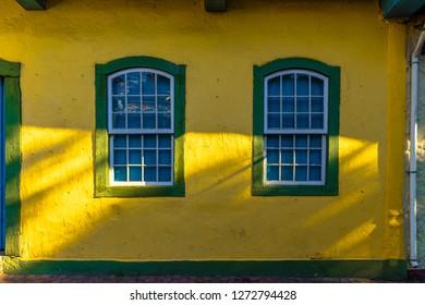 EMBU DAS ARTES, BRAZIL - 26 Dezember, 2018: authentic windows of the Portuguese colonial era in the colonization of Brazil embu of the arts