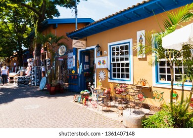 Embu das Artes, SP / Brazil - 03/31/2019: Visiting the beautiful  Embu das Artes city near São Paulo, in Brazil and its weekly arts and crafts fair and many artisan shops.