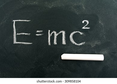 E=mc2 on blackboard