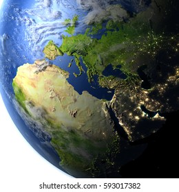 EMEA region. 3D illustration with detailed planet surface and visible city lights. Elements of this image furnished by NASA.