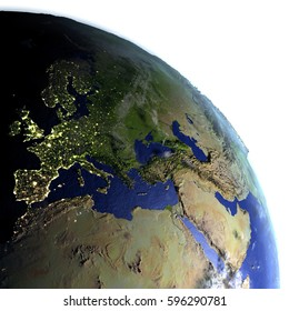 EMEA region on model of Earth. 3D illustration with realistic planet surface and visible city lights. Elements of this image furnished by NASA.