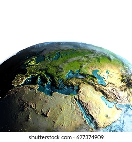 EMEA region on model of planet Earth at dawn. 3D illustration with white background. Elements of this image furnished by NASA.