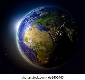 EMEA region with sun setting below the horizon of planet Earth in space. 3D illustration with detailed planet surface. Elements of this image furnished by NASA.