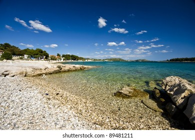 Emerald beach in Pakostane with the islands and the beautiful sea