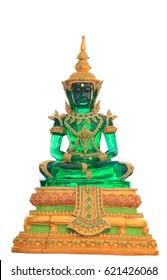 The Emerald Buddha on white background in songkran festival summer