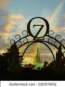 emerald city gate and rainbow