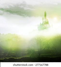 emerald city in mist