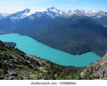 Emerald color lake in the mountains of British Columbia, Canada