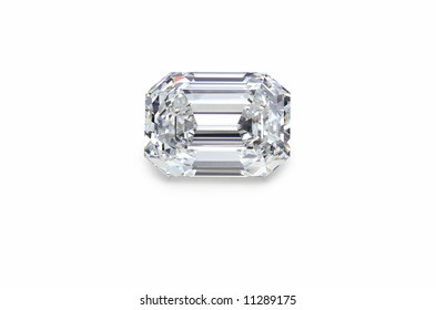 emerald cut diamond on white