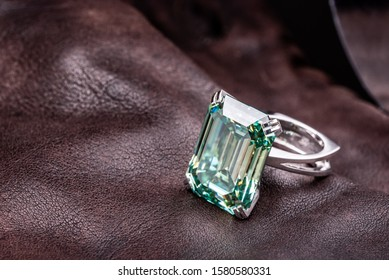 Emerald Cut Diamond Ring on Leather