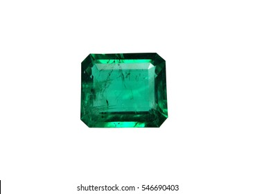 Emerald gemstone isolated on white background