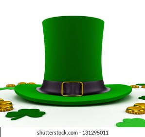 emerald green leprechaun hat for St. Patrick's Day, filled with beer caps instead of coins