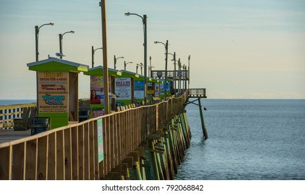 Emerald Isle, NC/US-Dec 26 2017:Bogue Inlet fishing pier on the Atlantic Ocean