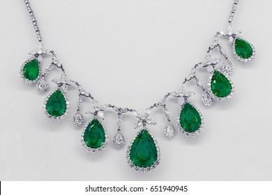 emerald jewelry with diamonds in gold necklace - gemstone jewels