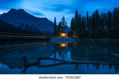 Emerald lake after sunset with Emerald lake Lodge and mountains in the background