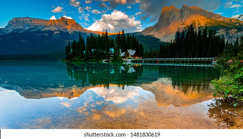 Emerald Lake in August at golden hour