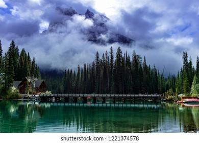 Emerald Lake bridge, Yoho National Park, British Columbia, Canada.