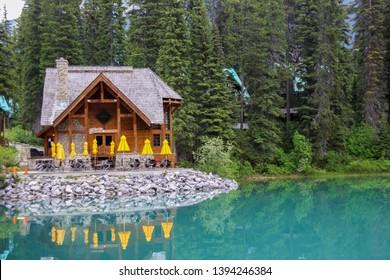 Emerald Lake, Canada - June 07, 2015: Restaurant Cilantro On the Lake at the beautiful site of Emerald Lake in Yoho National park, Britisch Columbia, Canada