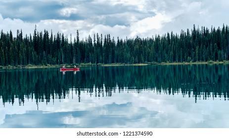 Emerald Lake canoeing, Yoho National Park, British Columbia, Canada.
