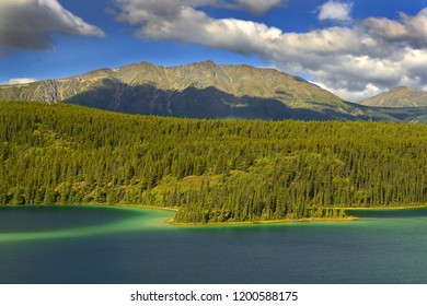 Emerald Lake, located near Carcross, Yukon, Canada