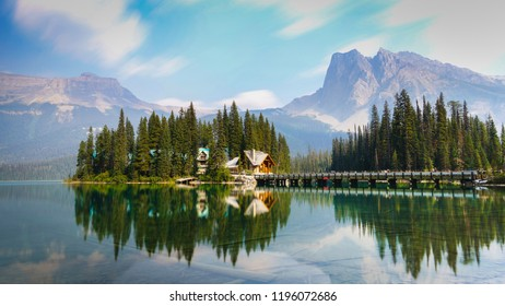 Emerald Lake is located in Yoho National Park, British Columbia, Canada.