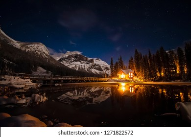 Emerald Lake Lodge at night in Yoho National Park, British Columbia, Canada