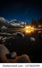 Emerald Lake Lodge at night in Yoho National Park, British Columbia, Canada