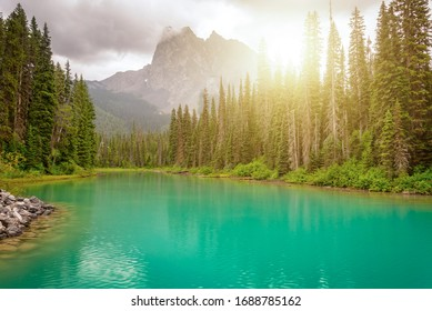 Emerald lake near Golden in Yoho National park in the canadian Rocky Mountains, British Columbia, Canada