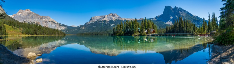 Emerald Lake panorama view in summer sunny day. Michael Peak, Wapta Mountain, and Mount Burgess in the background. Yoho National Park, Canadian Rockies, British Columbia, Canada.