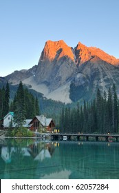 Emerald Lake at sunset in Yoho National Park