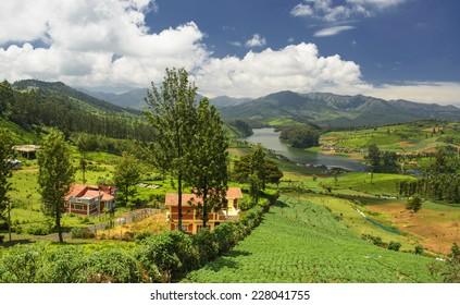 Emerald Lake and village, Nilgiris (Ooty), Tamilnadu, India