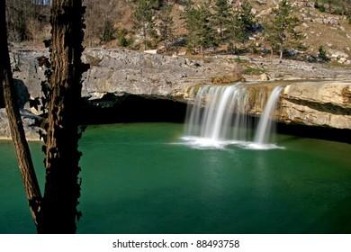 Emerald lake of the waterfall Zarecki krov
