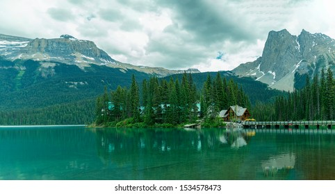 Emerald lake in Yoho National Park  -Emerald Lake  lodge view with reflection 1.