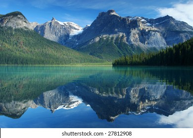 Emerald Lake in Yoho national Park in Rocky Mountains British Columbia