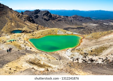 "Emerald Lakes, North Island, New Zealand on a sunny morning. Part of ""Tongariro Alpine Crossing"" the most famous NZ one day hike"