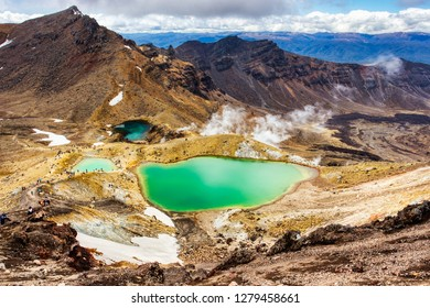 Emerald lakes on Tongariro Alpine Crossing Track, Tongariro National Park, New Zealand