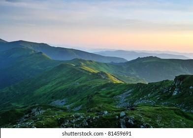 Emerald morning Carpathian Mountains