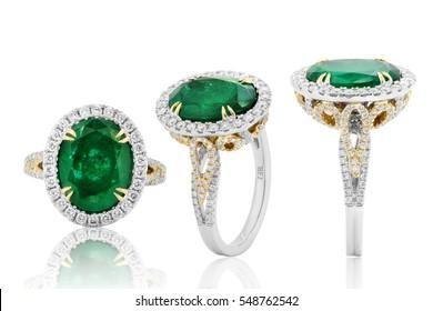 Emerald ring and diamond in gold, wedding jewelry