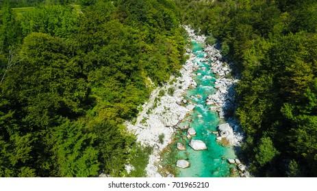 Emerald river Soca (Isonzo) near Kobarid, Slovenia, aerial view