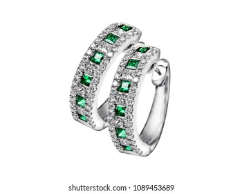 Emerald Stud Hoop Diamond Earring