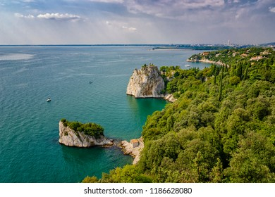 Emerald waters of Adriatic Sea coast near Duino, Gulf of Trieste, Italy